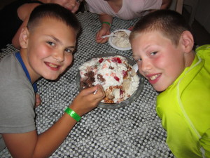 All-camp Scavenger Hunt Winners enjoying their prize Cow Pie Sundae